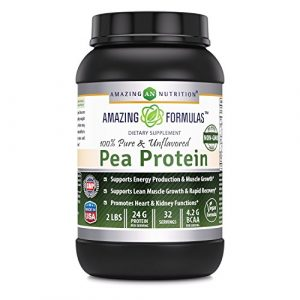 Amazing Formulas 100% Pure & Unflavored Pea Protein Dietary Supplement – 2 lbs – Supports Energy Production and Muscle Growth