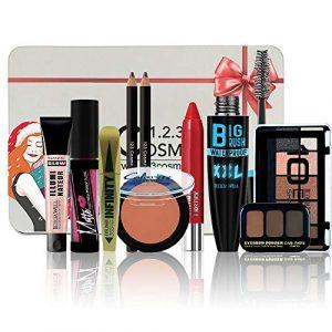 Coffret de Noel Maquillage – 10 Essentiels de maquillage Dans une boite Box Spéciale Noël