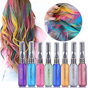 Craie de Cheveux, HailiCare 8 Couleurs Peigne Colorée Cheveux pour DIY Coloration Temporaire Cheveux Non-toxique Parfait pour Soirée Fêtes Cosplay Festivals