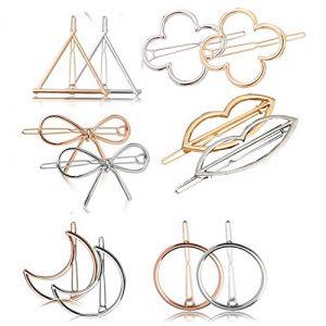 EXQUILEG Lot de 12 pinces à cheveux en métal avec différents formes : triangles + nœud + cercle + lune + fleur + lèvres, barrettes à cheveux, cheveux pour femmes et filles (or et argent)