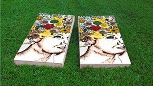 flottant Pong fabriqué sur mesure 2x 4planches Cornhole, 200+ Designs disponibles, 2x 4planches (25% plus léger 1x 4Cadre), bois, faite à la main, Lady with Flowers in Hair Design, 1. Corn Filled Bags
