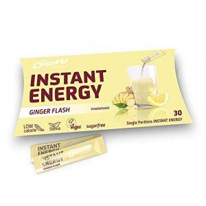 GoMo ENERGY® Boisson de vitalité sans sucre | Augmenter la force physique et mentale | Boisson énergétique hypocalorique végane | Forte saveur de gingembre | GINGER FLASH 30 portions