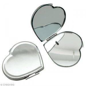 GRAINE CREATIVE 268507 Miroir à décorer cœur Métal Argent 6 x 6 x 5,5 cm