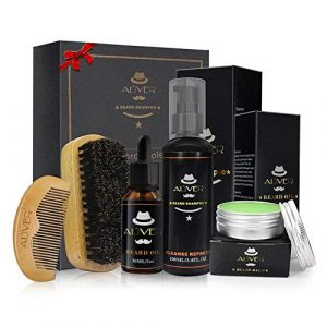Kit de soin de barbe pour les hommes – 5 PCs Lot de toilettage de barbe Entretien Cadeau Coffret Fête Père Barbe Shampooing + Brush + Beard Peigne + Oil Conditioner sans rinçage + Moustache Balm