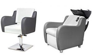 NUVOLA 2 x Fauteuils de coiffure + 1 x bac à shampoing fauteuil repose pied electrique 100 couleurs d'ameublement (7+2)