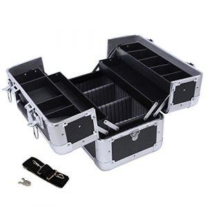 Songmics® Vanity-case XXL Grand modèle pour bagages 36,5x 22x 25cm Aluminium noir JBC228