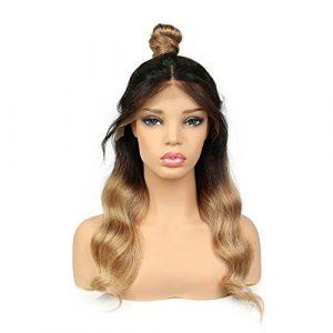 Sun Goddess 1B/27 Full Lace Perruques De Cheveux Humains Pré Sans Colle Les Cheveux Remy Brésilien Pincées Dentelle Perruques Ondulées,T1B/27,24Pouces