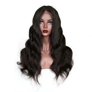 Sun Goddess Corps Cheveux Dentelle Noir Naturel Ondulé 360 Cheveux Remy Brésilien,A,24Cm