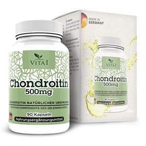 VITA1 Chondroïtine 500 mg • 90 capsules (alimentation pour 6 semaines) • Sans gluten, kosher et halal • Fabriqué en Allemagne