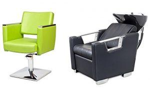 CASTANTO 2 x Fauteuils de coiffure + 1 x bac à shampoing fauteuil repose pied electrique 100 couleurs d'ameublement (8+3)