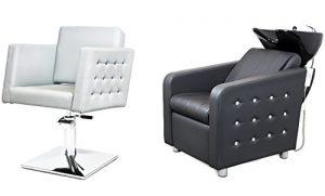 CRISTAL 2 x Fauteuils de coiffure + 1 x bac à shampoing fauteuil repose pied electrique SWAROVSKI ELEMENTS Le fauteuil fait avec des cristaux Swarovski 100 couleurs d'ameublement (8+3)