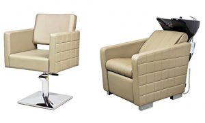 CUBO 2 x Fauteuils de coiffure + 1 x bac à shampoing fauteuil repose pied electrique 100 couleurs d'ameublement (8+3)