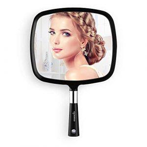 EASEHOLD Mirroir à Main Miroir de Maquillage Carré Mirroir Portable Noir