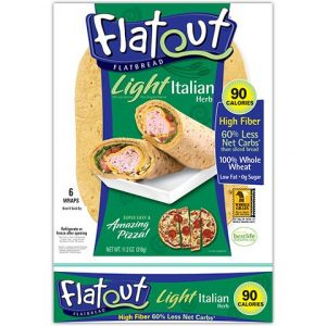 Flatout Flatbread Lumière italienne Herb – 90 calories – 2 Weight Watchers Smartpoints Valeur par pita 2 Packs of 6 Flatbreads