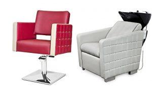 GLAM 2 x Fauteuils de coiffure + 1 x bac à shampoing fauteuil repose pied electrique 100 couleurs d'ameublement (8+3)