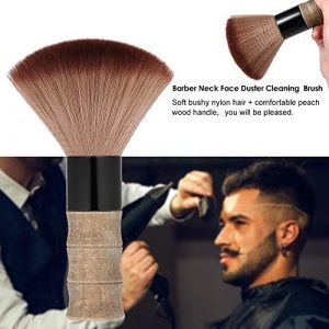 Hykis – salon de coiffure cou visage Duster Brosse de nettoyage Brosse cheveux Sweep Brosse Salon de coiffure coupe de cheveux outil en bois souple en nylon Peach cheveux Poign¨¦e