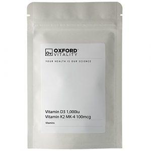 Oxford Vitality – Comprimés Vitamine D3 1000iu + K2 MK4 100mcg