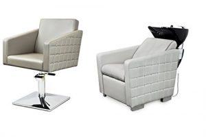 TORO 2 x Fauteuils de coiffure + 1 x bac à shampoing fauteuil repose pied electrique 100 couleurs d'ameublement 24 mois de garantie (8+3)