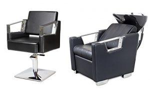 VERDE 2 x Fauteuils de coiffure + 1 x bac à shampoing fauteuil repose pied electrique 100 couleurs d'ameublement (2+1) (8+3)
