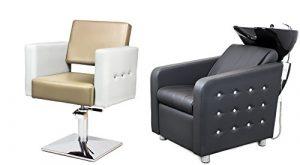 VERONA 2 x Fauteuils de coiffure + 1 x bac à shampoing fauteuil repose pied electrique SWAROVSKI ELEMENTS Le fauteuil fait avec des cristaux Swarovski 100 couleurs d'ameublement (8+3)