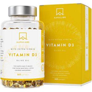 Vitamine D3 à haute concentration [5000 UI] – Avec de l'huile d'olive extra vierge pour une absorption optimale – Sans OGM – Soutient les fonctions osseuse, musculaire et immunitaire – 365 gélules