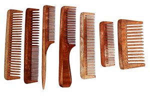 7 swatika [TM] Handmade Comb made from Neem (Azadirachta Indica) wood/tree for grooming hair & controlling Dandruff, Eco-Friendly Handicraft comb [Set of seven piece] Peigne en bois Neem