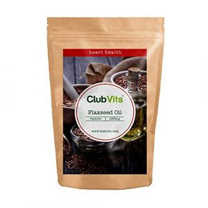 Club Vits – 1000 gélules huile de graines de lin 1000 mg – omega 3 & 6 flaxseed oil