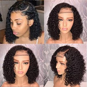 Fureya Short 13×6 Lace Front Human Hair Wigs Pre Plucked With Baby Hair Curly Brazilian Remy Hair Lace Front Bob Wigs 150 density 10 inch