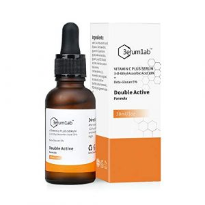 Serum Vitamine c pour le visage et la peau, Double principe actif unique composé de 10% de vitamine C et de 5% de bêta-glucane, atténue les rides, les ridules, les pigments et les cernes (C)