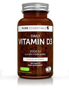 6x Pure Essentials Vitamine D3 Quotidienne 2000iu Cholécalciférol, 1 par jour, 1 an d'approvisionnement, végétarien, 6 x 365 petits comprimés