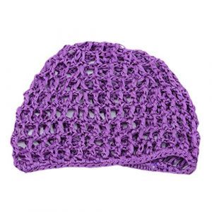 Beafavor Femmes élastiques cheveux casquettes dames doux Rayon Snood cheveux Net Crochet cheveux Net Accessoires (Violet)