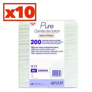 Carrés De Coton 100% Coton Hydrophile Carton De 10 Sachets De 200 Carrés 8 X 10 Cm – Cot-810-10 – By Antigua Health Care