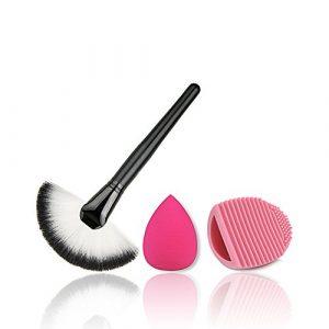 Combinaison cosmétique du maquillage brosse en forme d'éventail oeuf brosse outil de beauté de la fondation