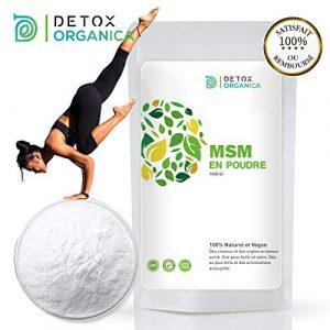 Detox Organica MSM Poudre–MSM Poudre 1kg Pure à 99,9%-100% Naturelle & Vegan-Soulage l'Arthrose et les douleurs articulaires-Allié Detox et Jeunesse–Contre les carences en souffre-Produit en Allemagne