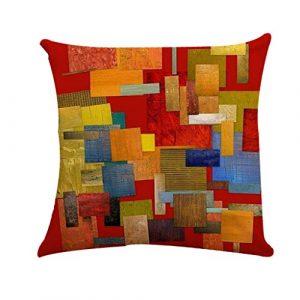 Hawkimin_ Housse de Coussin en Coton Lin 45 x 45 cm Housse de Coussin Home Decoration Taie d'oreiller Décoration, E, 45 x 45 cm