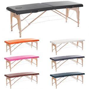 H-ROOT Grande section 2 Table de massage portative légère Canapé-lit Base Therapy Salon de tatouage Reiki Healing Massage suédois noir …