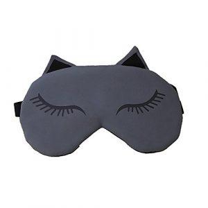 kanggest Masque de trou Lindo renard Ombre Portable dentelle pour les yeux aux frío- chaleur Masque de couchage française pour maison voyage en train avion Bureau 20 X 10CM gris