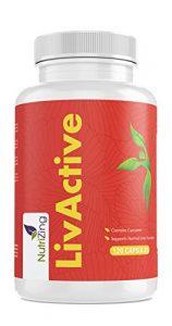 LivActive Supplément de Foie Actif. Contient de l'extrait d'açaï, curcuma, pissenlit. Formulation spéciale avec ingrédients actifs pour nettoyage du foie. 100% végétarien et végétalien. 120 gélules