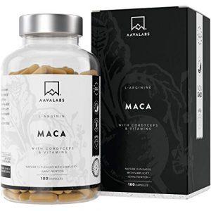 Maca L – Arginine [5600mg] Cordyceps, extrait d'acérola contenant des vitamines B6, B12 et du zinc par dose quotidienne – 100% végétalien – Testé en laboratoire – Fabriqué dans l'UE – 180 gélules