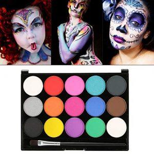 Maquillage Pour Enfant, Fard Maquillage, Skymore 15 Couleurs Visage Kit de Maquillag, Bodypainting, Cadeau Parfait Pour Carnaval, Halloween