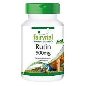 Rutine 500mg – Extrait de Sophora japonica (bourgeon, contient 95% rutine) 90 gélules véganes