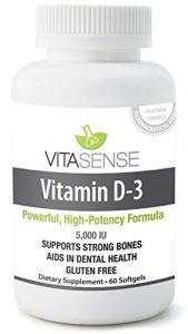 VitaSense Vitamine D 5000 I.U. – Os & Dents Saines – 60 Gélules