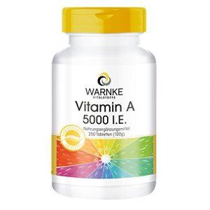 Warnke Vitalstoffe Vitamine A 5000 I.E. – 250 comprimés – végan