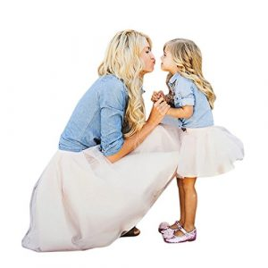 Buimin Maman et Moi Enfants Fille T-Shirt en Jean Tops + Robe Jupe vêtements de Famille Tenues imprimé Floral vêtements de Robe d'été Fille Arc Attacher Fleur Été Plage (7T=Hauteur:130CM)