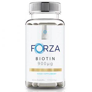 Forza Biotin – Supplément de croissance des cheveux – 900 μg Force maximale pour les cheveux plus forts et plus épais – 300 capsules