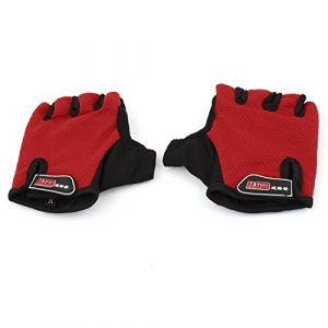 Outdoor Red souple Sponge Pad Half Finger Protector Gants de sport Paire