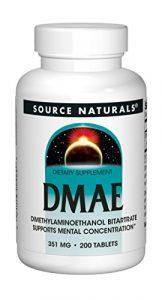 Source Naturals, DMAE, 351mg x200tabs – Propulseur d'acétylcholine