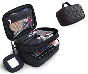 Trousse maquillage, ONEGenug Sac Cosmétique 20 * 12 * 8 cm Double Couche avec Miroir pour Femme Noir