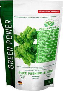 100% efficace détox – Superfood Mix: Moringa, Baobab, herbe d'orge, Protéine de pois, Algues chlorelle, Spiruline Algues, Afa Algues, pissenlit, Ortie, thé vert, Guarana, Charbon actif