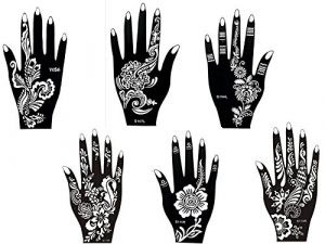 6 Feuilles Mehndi Tatouage Pochoir pour la main Hand 6 Mehndi Tatouages au henné Set 4 à usage unique – pour tatouage au henné, tatouage paillettes et aérographe tatouage